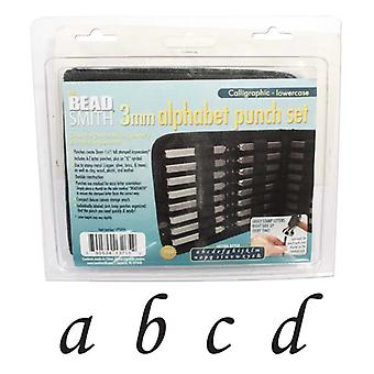 The Beadsmith 27 Piece Lowercase Calligraphy Alphabet Letters Punch Set For Metal 3mm
