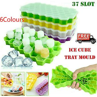 37 Grids Large Plastic Ice Cube Mould Tray With Lid Home Freezer Maker Kitchen