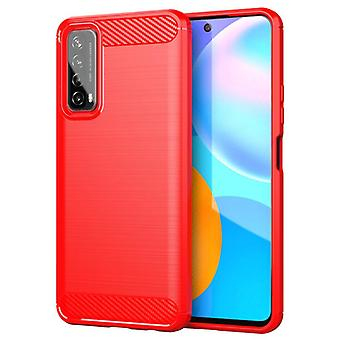 Tpu carbon fibre case for huawei y6s red mfkj-463