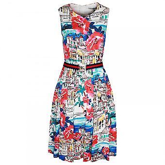 Oui Illustrated Sleeveless Dress With Belt