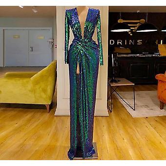 Lange Zeemeermin Diepe V-hals High Side Split Evening Prom Party Gowns (Set 1)