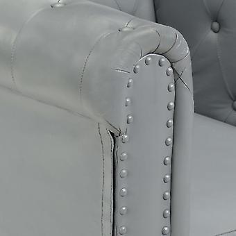 vidaXL Chesterfield-Sessel Grau Echtleder