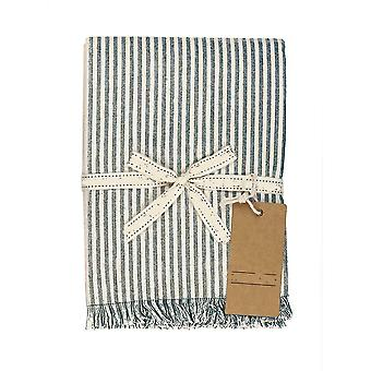 Set of Eight Dull Green Striped Placemats