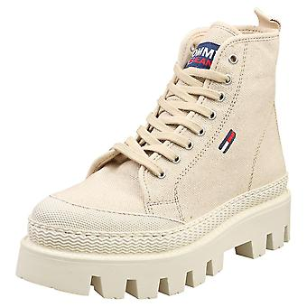 Tommy Jeans Flat Boot Womens Flatform Boots in Stone