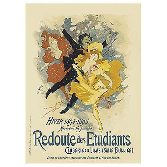 Vintage kunstnerisk plakat Redoute Des Etudiants - Lærred Print, Wall Art Decor