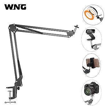 Extendable desktop clamp suspension boom scissor arm stand holder with table mounting clamp for ring light webcam tiktok live