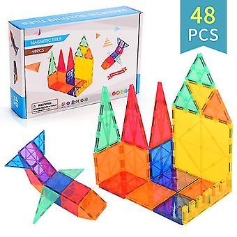 Kids Magnet Toys Magnetic Tiles, Magnetic Building Blocks Educational Toys(48 PCS)