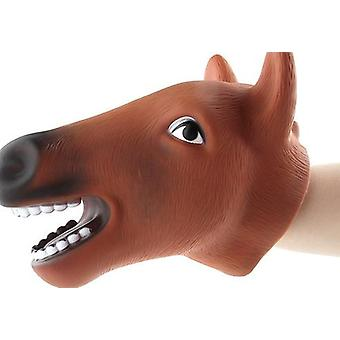 Realistic Wild Animal Figures Hand Puppets Gloves Soft Rubber Horse Head Action Finger  Model Toys