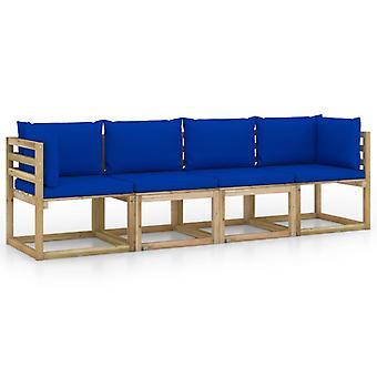 vidaXL 4-zits tuinbank met blauw kussen