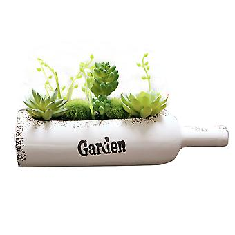 Swotgdoby Wine Bottle-shaped Artificial Succulent Plants Potted, For Table Decoration,  Assorted Succulents