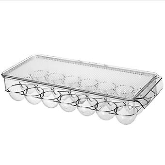 21 Grids Egg Storage Box Egg Tray Containers Kitchen Refrigerator Eggs Transparent