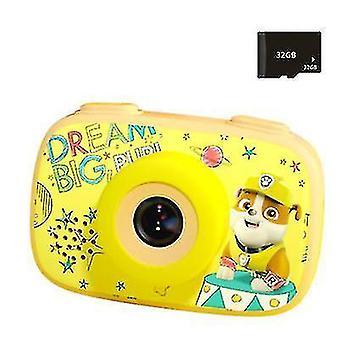 1080P børns digitale kamera, HD børn kamera (Gul)