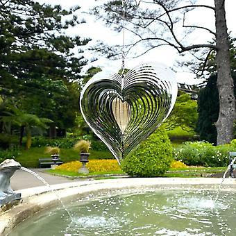 Metal Heart Wind Spinner Garden Carillons Suspendu Ornements Extérieur Fenêtre d'arrière-cour Décor Carillons de Vent