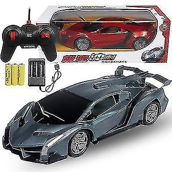 充電式リモコンカー 子供用おもちゃ車トイレーシングスポーツカー(グレー)