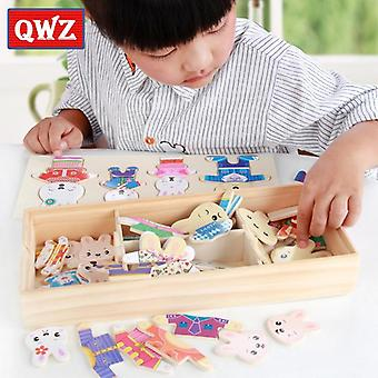 Little bear change clothes children's early education wooden jigsaw puzzle dressing game baby puzzle toys for children gift