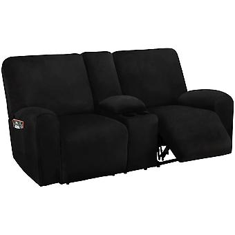 Reclining 2 seat with middle console slipcover, 8-piece velvet stretch loveseat reclining sofa covers, 2 seat recliner cover, black