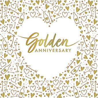 Golden Anniversary Wedding Foil Paper Party Napkins 3 ply x 16