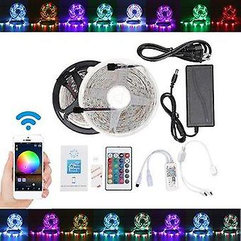5M 10m ip65 ip20 color changeable wifi smart led strip light + 24keys ir remote control + adapter + controller christmas decorations lights