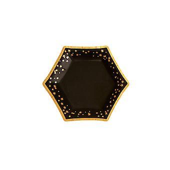 Glitz & Glamour Black & Gold Plate - Pieni - Tähdet