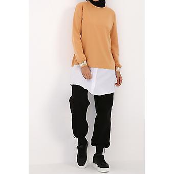 Printed Cuff Detailed Sweatshirt Tunic