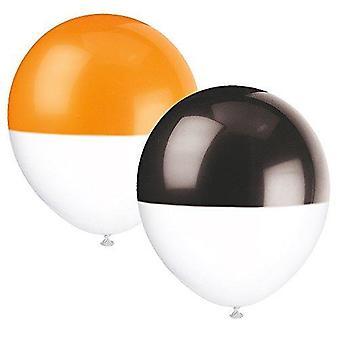 """63579 - 12"""" Latex Zweifarbig getauchte orange und schwarze Halloween Ballons, 6er Pack"""