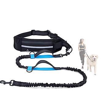 Laisse mains libres pour chien Noir Réglable Chien Promenade Dressage Laisse pour jogging et course Absorption des chocs Couture réfléchissante confortable