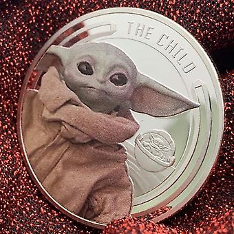 Mandalorian Star Wars Baby Yoda Silver Plated Painted Medal Cute Kid Cartoon Coin Commemorative Coin