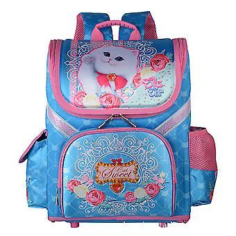 Girls Cat Print Schoolbag