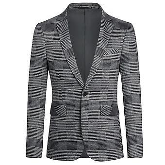 Yunyun Homme Plaid Stripe Blazer One Button Manteau décontracté moderne
