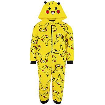 Pokemon Onesie Boys | Kids Pyjamas Pikachu Yellow 3d Ears All In One Outfit | Gamer