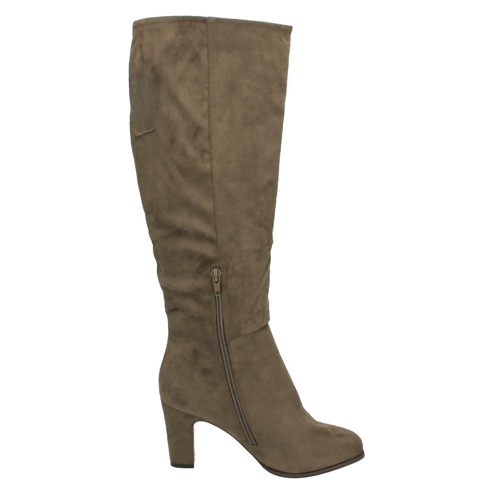 Ladies Spot On Heeled Knee High Boots F50554
