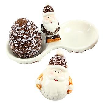 Winter Woodlands Santa with Pine Cone Salt and Pepper Shaker Set Ceramic