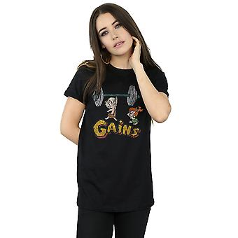 The Flintstones Women's Bam Bam Gains Distressed Boyfriend Fit T-Shirt