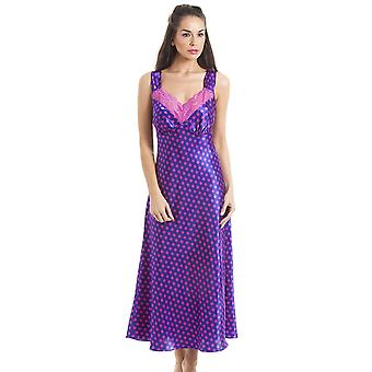 Camille Luxury Long Purple Satin Chemise With Pink Lace And Polka Dot Print