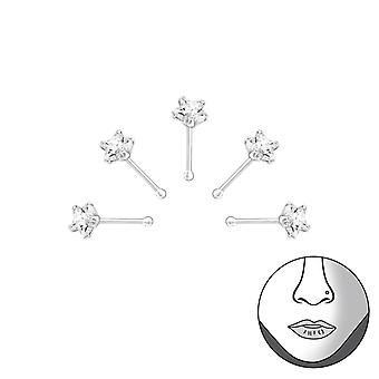 Star - 925 Sterling Silver + Cubic Zirconia Nose Studs - W33349X