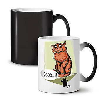 Cat Terrified Mouse Funny NEW Black Colour Changing Tea Coffee Ceramic Mug 11 oz | Wellcoda