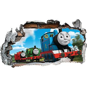GNG Trains 3D Smashed Wall Art Decal Vinyl Sticker Boys Girls Bedroom Trains