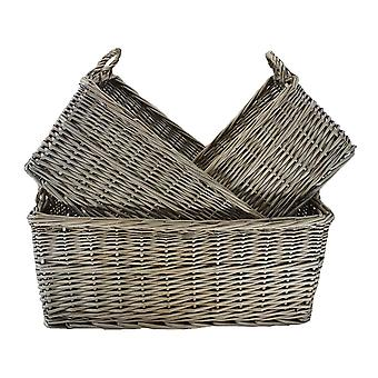 Large Shallow Antique Wash Storage Wicker Basket