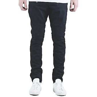 Pynte Spencer Biker Denim Jeans Jet sort