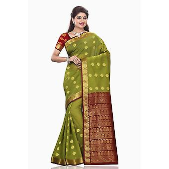 Mona Green with Maroon Art Silk Sari Saree Bellydance Wrap