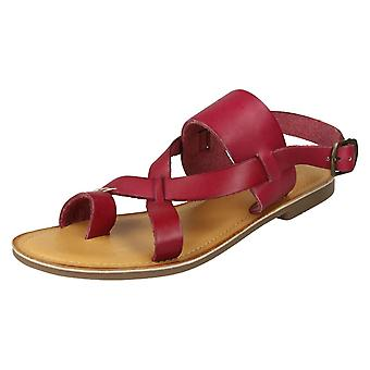 Ladies Leather Collection Toeloop Sandals F00127 - Red Leather - UK Size 5 - EU Size 38 - US Size 7