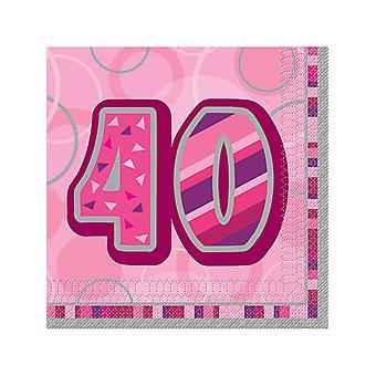 Födelsedag Glitz rosa - 40th födelsedag - lunch servetter