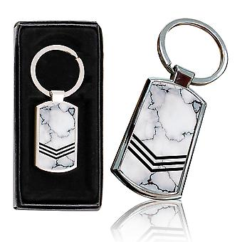 i-Tronixs - Premium Marble Design Chrome Metal Keyring with Free Gift Box (2-Pack) - 0053