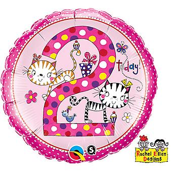 Qualatex 18 Inch Polka Dot Kitten Design Age 2 Circular Foil Balloon