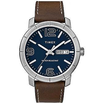 Timex мужские мод 44 Браун Смотреть кожаный ремешок синий циферблат TW2R64200