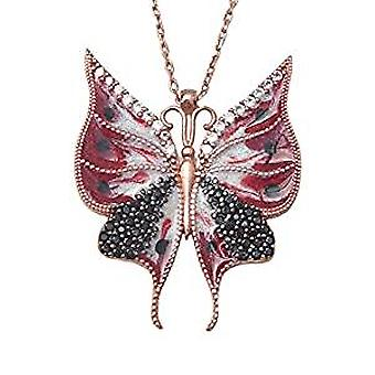 Red enamel butterfly necklace 18ct rose gold plated silver