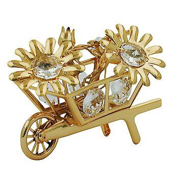 Kruiwagen met bloemen goud vergulde kristal bloem kruiwagen glas stenen