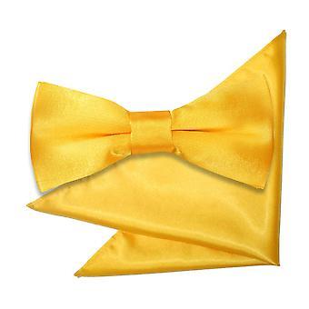 Marigold ren sateng sløyfe og Pocket Square satt for gutter