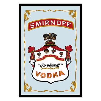 Smirnoff vodka mirror wall mirror with black plastic framing wood.