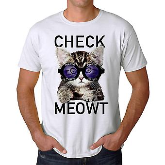 Check Meowt Katze Paris Grafik Herren weißes T-shirt Humor